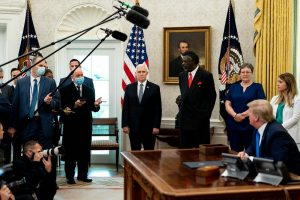 Dr. Ernest Grant '93 MS, '15 PhD in the Oval Office in May 2020