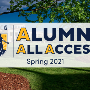 "A photo of UNCG campus with the words ""Alumni All Access"" written across"